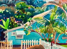 """""""Little Blue House"""", 9"""" x 14"""", watercolor  One of those lovely tropical paint colors that would never work in Vermont. Photo de Susan Abbott. https://scontent-yyz1-1.xx.fbcdn.net/v/t1.0-9/16681603_10211914848174459_9093233972517432763_n.jpg?oh=790a160565d730e22b1195660ed52851&oe=5934F006"""