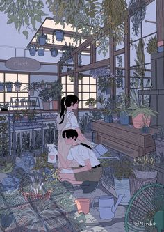 Caring for plants couple cartoon, love drawings, couple drawings, art drawings, minho Cute Couple Drawings, Cute Couple Art, Love Drawings, Art Drawings, Pencil Drawings, Art And Illustration, Character Illustration, Aesthetic Art, Aesthetic Anime