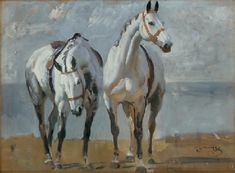 Two Grey Horses; Study for The 9th Duke of Marlborough and Lord Ivor Spencer-Churchill sold at Christie's auction New York (1 Dec 2006) for $ 296,000. Sale 1738, Lot 62. It was previously owned by Lord Ivor Churchill.