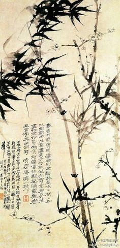 【 清 原济《灵谷探梅图》】纸本。纵97.5厘米,横50.3厘米。南京博物馆藏。此画以干湿浓淡的水墨写竹梅二君,用墨色的变化烘托出满卷的氤氲之气。云弥雾漫之中,竹叶飞扬,似籁籁有声,将无形之风描绘尽致。风随雾动,雾就风涌,风雾之中的翠竹疏梅,意韵洒落。构图简洁明快,纵横宕逸。