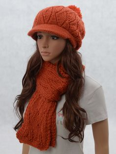 Wool slouchy woman handmade knitting hat and scarf set - pumpkin
