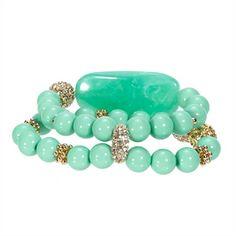 Stony Jewelry Double Row Stone and Pavé Stretch Bracelet   from Von Maur #VonMaur #BeadedJewelry #StyleCorner #Mint