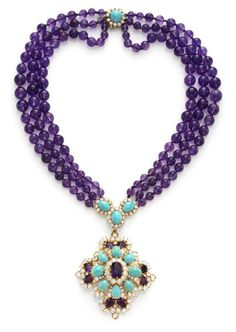 Van Cleef & Arpels. An Amethyst Bead, Turquoise and Diamond Necklace – Tony Falcone © Van Cleef & Arpels