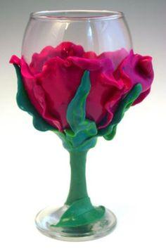 Beautiful polymer clay flower glass