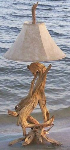 beach driftwood lamp