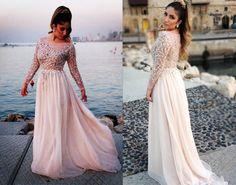 Long prom dress,rhinestone prom dress,long sleeve prom dress,chiffon
