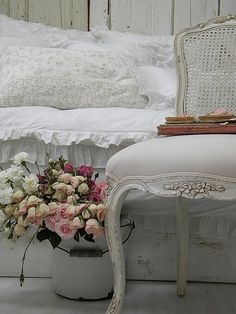 pink roses, French chair, white linens vignette