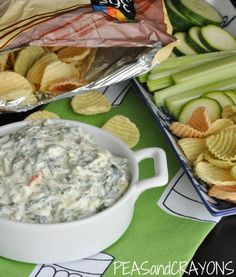 Healthy Spinach Dip. Made with english cucumber, zucchini squash, frozen spinach, dried vegetable recipe mix, and plain greek yogurt.