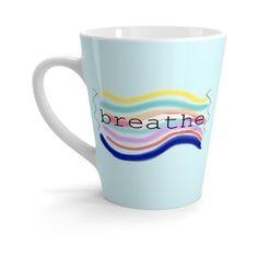 """ Breathe"" Latte mug (16 JOD) ❤ liked on Polyvore featuring home, kitchen & dining, drinkware, ceramic latte mug, coffee cup, white coffee mugs, white ceramic mugs and white mug"