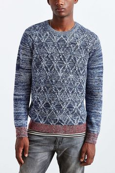 Native Youth Contrast Cable Knit Sweater
