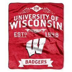"Wisconsin Badgers 50""x60"" Royal Plush Raschel Throw Blanket - Label Design"