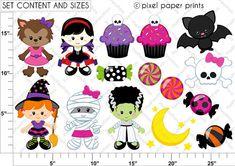 Niñas Halloween Set de Clip Art y Papeles por pixelpaperprints