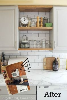 How to update an old kitchen with modern open shelves. DIY budget kitchen renovation with painted cupboards, subway tile backsplash, faux marble countertops, industrial sink and faucet and more storage. All on a very small budget. #diy #howto #kitchenideas #budgetmakeover #kitchendecor #openshelving #updatedkitchen