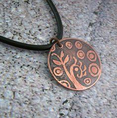 Copper pendant - acid etched - futuristic garden