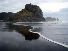 Piha Beach outside of Auckland, New Zealand ~ known for its beautiful black sands.  COMPLETE , 2001.