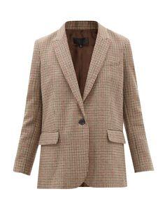 Nili Lotan, Denim Shirt, Houndstooth, Single Breasted, Leather Shoulder Bag, Wool Blend, Jackets For Women, Blazer, Lapels