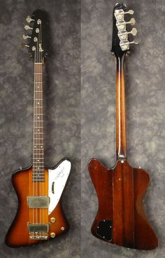 Here is an iconic first issue 1964 Gibson Thunderbird II reverse body bass with a wonderful sunburst finish. The forward thinking design came from Raymond H Dietrich, an auto engineer, who worked on Chyslers, Lincolns and Checkers. It is estimated that only 501 Thunderbirds were built in the Kala...