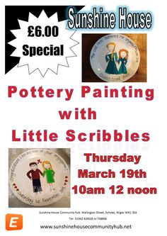 Come along and learn how to paint pottery £6.00 all materials found.  Come and enjoy and learn a new skill.