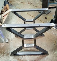 "Modern, Dining Table ""X"" Legs, Heavy Duty Metal Legs, Industrial Legs from 3"" x 1"" Tubing, Raw Steel Legs,"
