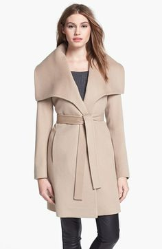 oversized collar wool wrap coat
