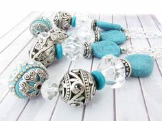 Drapery Tie Backs, Curtain Tie Tacks, Beaded Curtain Tiebacks, Curtain Tiebacks, Turquoise Tiebacks