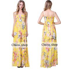 Sexy Plus Size Animal Print Boho Hawaii Summer Beach Dress #Maxi #SummerBeach #MaxiDress #PlusSizeDress #SpaghettiStrapDress #YellowDress