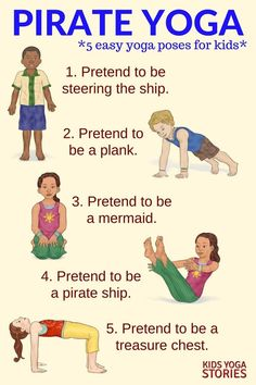 5 Pirate Yoga Poses for Kids. Pretend to steer the ship, be the plank or swim like a mermaid. Explore the pirating world through movement and yoga. Fun yoga poses to do to keep kids active and engaged. Kids Yoga Poses, Easy Yoga Poses, Yoga For Kids, Exercise For Kids, Fitness Games For Kids, Pirate Activities, Activities For Kids, Yoga For Preschoolers, Preschool Movement Activities
