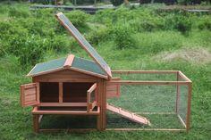 Amazon.com : ARKSEN© Deluxe Wooden Animal Cage, Rabbit Hutch, Outdoor, w/ Ramp, 62-inch : Pet Supplies