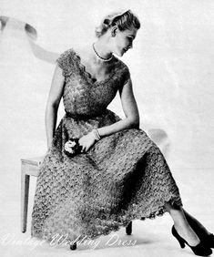 Vintage 50's Crochet Wedding Dress PDF Pattern by KissproofGirly