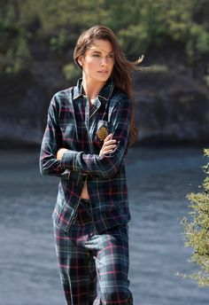 "Plaid cotton Pajama set from Lauren Ralph Lauren, crafted from ultra-soft cotton flannel and featuring an embroidered ""LRL"" crest. Cozy Pajamas, Plaid Pajamas, Cotton Pyjamas, Pajamas For Teens, Pajamas Women, Satin Pyjama Set, Pajama Set, Ralph Lauren, Tartan Fashion"
