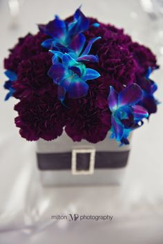 Purple and blue reception wedding flowers, wedding decor, wedding flower centerpiece, wedding flower arrangement, add pic source on comment and we will update it. www.myfloweraffair.com can create this beautiful wedding flower look.