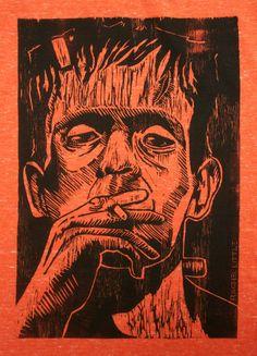 Frankenstein T-shirt, Woodcut Print
