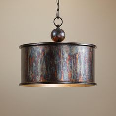 """Uttermost Albiano Drum 1-Light Pendant - Takes one 100 watt bulb (not included).  14"""" high 16"""" round.  $215"""