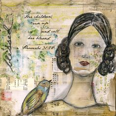 her children rise up and call her blessed proverbs art by jeanne oliver designs Mixed Media Artists, Beautiful Sky, Mixed Media Canvas, Muted Colors, Call Her, Medium Art, Blessed, Artsy, Proverbs 31
