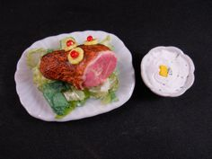 Seen in Jan 2013 Issue of the Dolls Magazine! Barbie Size Ham on a Bone Platter Food for Dolls by chefginas, $24.99