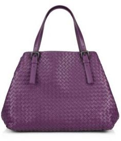 $3,950, Purple Leather Tote Bag: Bottega Veneta Large Tote. Sold by Saks Fifth Avenue. Click for more info: https://lookastic.com/women/shop_items/128475/redirect