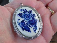 Vintage DELFT BLUE Handpainted Porcelain Pendant Locket HOLLAND Original Label #DELFTBLUE #LocketPendantVintageDesignerJewelry