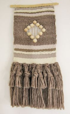 Big Woven Wall Hanging Modern handwoven tapestry in brown