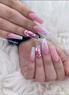 Mar 2020 - 24 Hot Acrylic Pink Coffin Nails Design For Valentines Nails - Latest Fashion Trends For Woman . Nail Design Glitter, Cute Acrylic Nail Designs, Nails Design, Hot Nail Designs, Art Designs, Design Ideas, Glam Nails, Hot Nails, Nail Swag