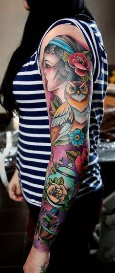 Chantelle Wrights sleeve. By artist: Matt Webb at 72 Street Tattoo.