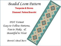 Turquoise Brown & Beige  Diamond PDF Beaded Loom Pattern for