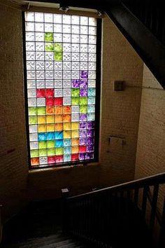 This is neat Tetris glass block window