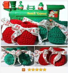 Red and Green Holly and Bows Baby Booties - Christmas Baby Gift - December Baby - Crocheted Baby Booties - Gender Neutral