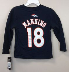 Just $22.99 !!! Peyton Manning #18 Denver Broncos KIDS L/S T-Shirts NEW/NWT Asst Sizes NFL #NFLKidsApparel #FootballGamesEveryday