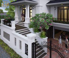 House Fence Design, House Outside Design, Village House Design, Bungalow House Design, Small House Design, Classic House Exterior, Modern Exterior House Designs, Classic House Design, Dream House Exterior