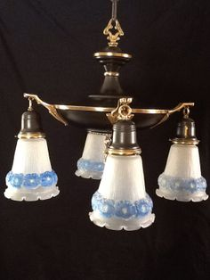 Early 1900s Victorian Pan Chandelier 4 Light by AntiqueLights, $189.00