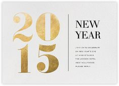 Gorgeous new year card gold foil numbers typography