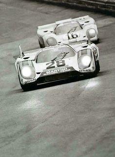 Larrousse / Marko (Martini Porsche 917K) followed by Rodriguez / Attwood (Gulf Porsche 917K ) - Zeltweg 1000Km - 1971