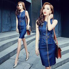 Vestido sin mangas de mezclilla, blue jean viste vestidos para mujer metal cremallera delgado de la cadera del dobladillo - punto de la rodilla longitud lápiz