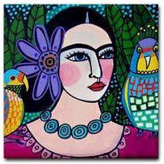 4x4 Frida Kahlo Tile - Mexican Folk Art Ceramic Coaster - Modern